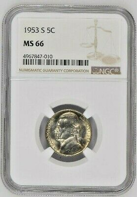 GEM 1952-D JEFFERSON NICKEL 5c NGC MS 66