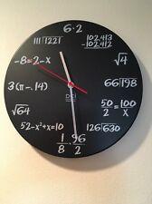 """DCI Matte Black Metal Mathematics Math Problem Blackboard Pi Wall Clock 11 1/2"""""""