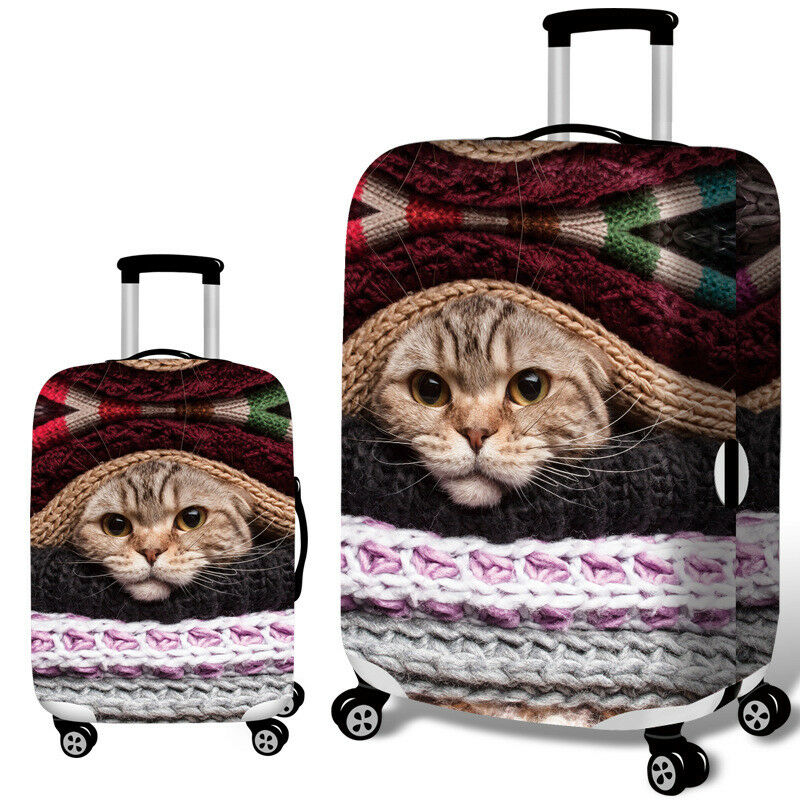 Cat hiding in knitting suitcase cover