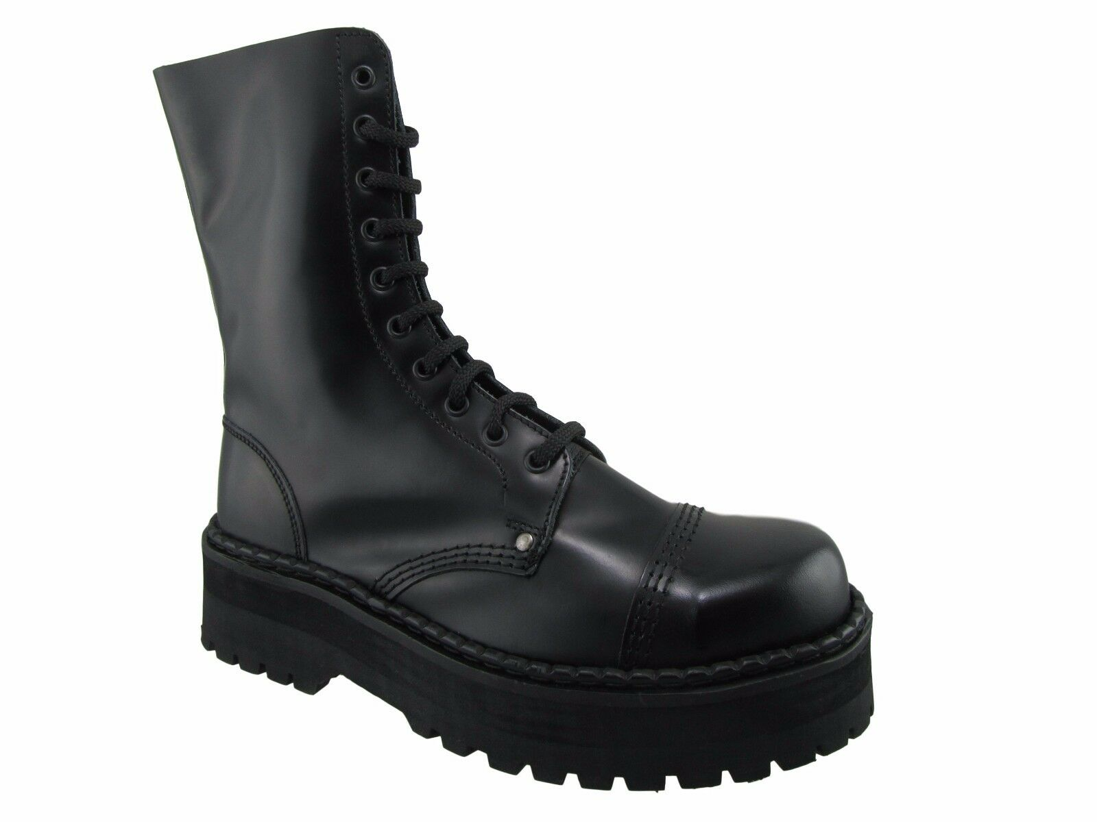 Steel Ground Combat Boots Black Leather 10 Eyeletts Triple Sole Under Cap Safety