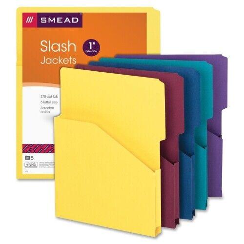 """Smead Expanding Slash Jacket 25-Cut /"""" Expansion  Asst Colors 5 per Pack 75445"""