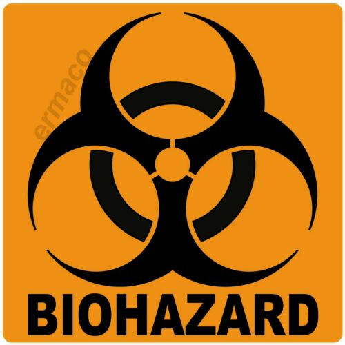 """Qty 10 BIOHAZARD STICKERS LABELS GLOSSY ORANGE POLYESTER 3/"""" X 3/"""" SQUARE"""