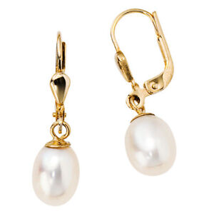 Earrings-Boutons-Earrings-with-Pearl-585-Real-Yellow-Gold-Ladies