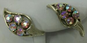 Vintage-Coro-Signed-Gold-Tone-Pink-Aurora-Rhinestone-Clip-Earrings