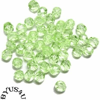 4mm Czech Fire Polished Sea Green Glass Rondelle Beads-U Pick Your Quantity