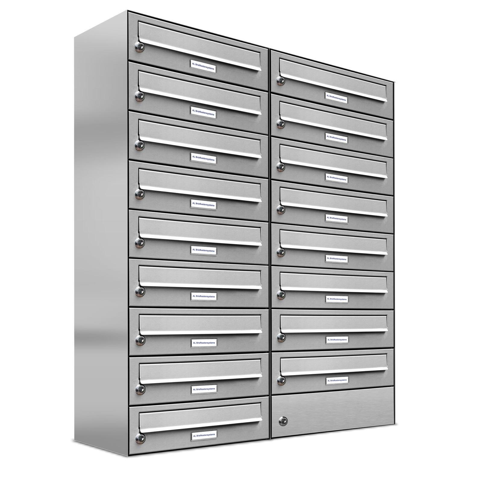 17er Premium Edelstahl Briefkasten Anlage 17 Fach Wandbriefkasten A4 Postkasten