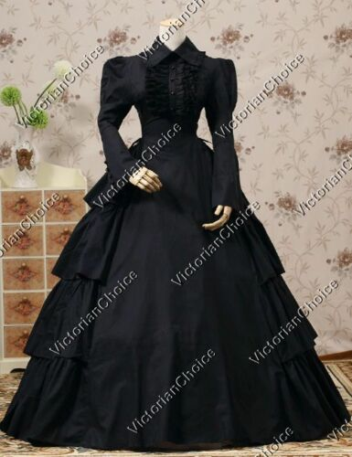 Victorian Costume Dresses & Skirts for Sale    Victorian Gothic Dress Black Period Gown Steampunk Reenactment Clothing V 007 L  AT vintagedancer.com