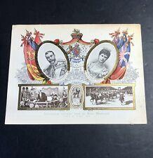 22.5  X 1 7 Cm Chromo Au Bon Marché Entente Cordiale King George V & Queen Mary
