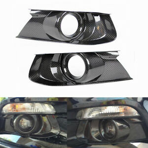 Carbon-Fiber-Front-Bumper-Fog-Light-Bezel-Cover-For-2015-2018-Ford-Mustang-GT