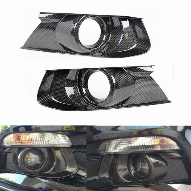 Carbon Fiber Front Bumper Fog Light Bezel Cover For 2015-2018 Ford Mustang GT