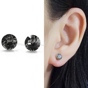 Details About Black Swarovski Crystal Invisible Clip On Stud Earrings Rhinestone Ons