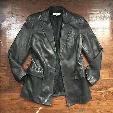 Pre-Loved ~ Saks Fifth Avenue REAL CLOTHES Leather Size 4 Jacket Blazer Moto B3