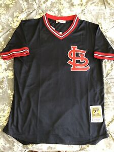 new product 875c0 d25fe Details about Ozzie Smith St. Louis Cardinals #1 Jersey Mesh Batting BP  Blue Throwback Mens