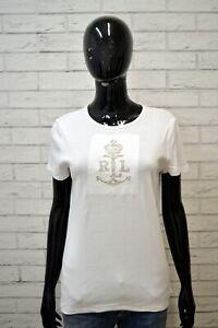 Maglia-RALPH-LAUREN-Donna-Taglia-L-Maglietta-Shirt-Woman-Bianca-Polo-Slim-Jersey