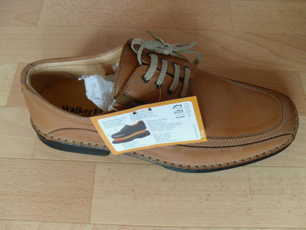 WalkerFlex Business-Schuhe / echtes Leder / handgenäht / Gr. 45 / hellbraun