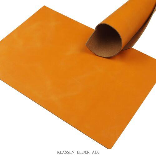 Rindleder Orange Pull-Up 2,5 mm A4 Format Echt Leder Stück Leather 35