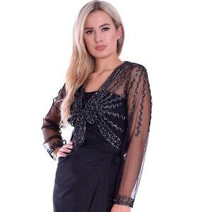 eleganter damen t ll bolero festlich langer arm schwarz mit silber montyq ebay. Black Bedroom Furniture Sets. Home Design Ideas