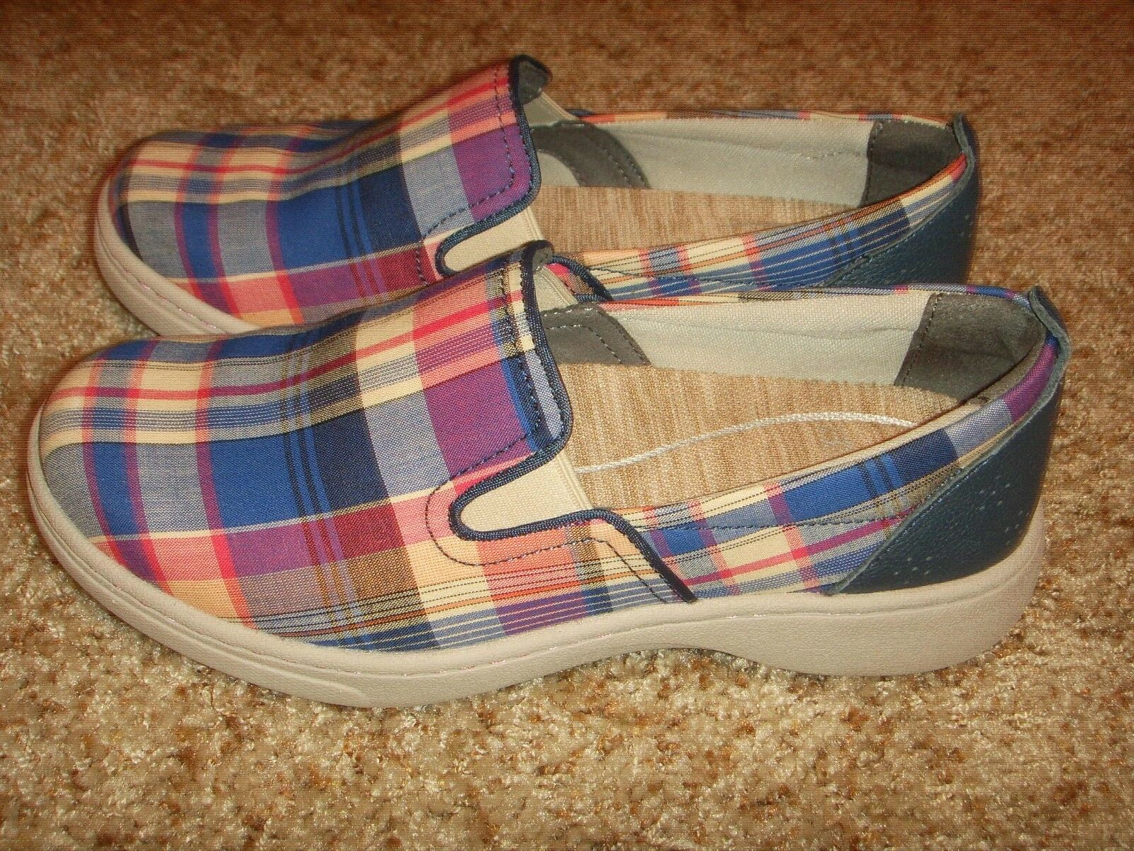 DANSKO Belle Madras Plaid Fabric Loafers Shoes Womens Size 36