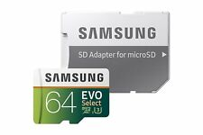 Samsung 64gb 100mb/s U3 microSDXC EVO Select Memory Card W/ Adapter Drone Camera