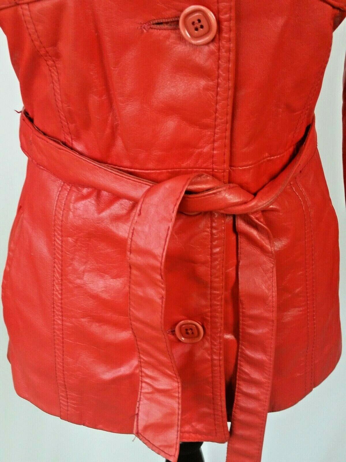 Vintage Orange Leather Womens Jacket Mod 1970s XS - image 3