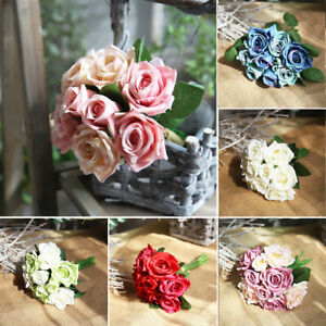 Am-1-Bunch-Artificial-Fake-Roses-Flannelet-Flower-Wedding-Home-Hotel-Decor-Gift