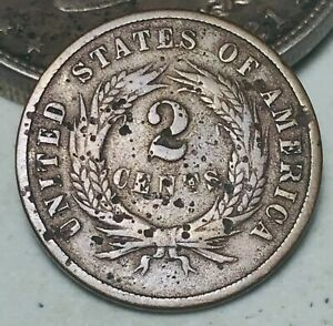 1868 Two Cent Piece 2C Ungraded Good Date Civil War Era US Copper Coin CC5817