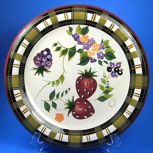 Oneida-STRAWBERRY-PLAID-Dinner-Plate-s-Strawberries-Ceramic