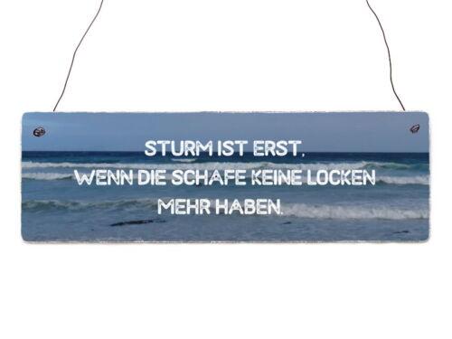 Holzschild Shabby STURM IST ERST Nordsee Strand Türschild Vintage Spruch