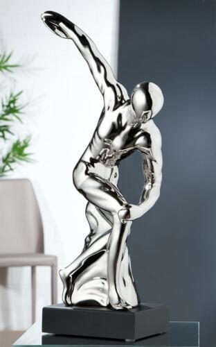 Gilde Keramik Skulptur Diskuswurf silber schwarze Base L=11xB=18xH=46