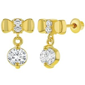 Image Is Loading 18k Gold Plated Crystal Bow Back Dangle