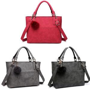 83818af7d5 Image is loading Ladies-Designer-Pompom-Handbag-PU-Leather-Square-Satchel-