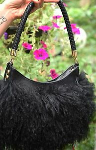 NEW-Frosting-by-Mary-Norton-Mongolian-Lambskin-amp-Leather-Hobo-Biker-Chic-Gypsy
