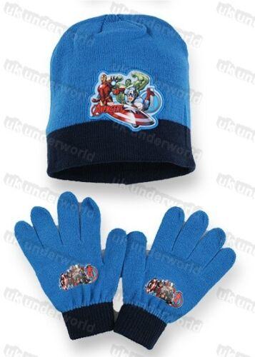 Childrens Boys Avengers Character Hat /& Gloves Set Marvel Comics Knitted Beanie
