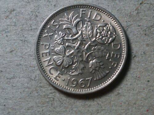 young queen BU toned Great Britain Sixpence 1967 6 pence   Wedding coin gift