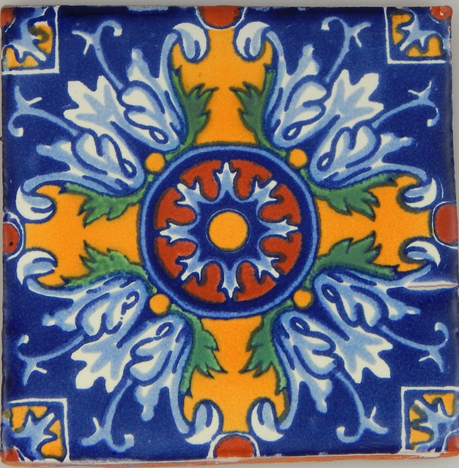 C290- Mexican Handmade Talavera Clay Tile Folk Art 4x4
