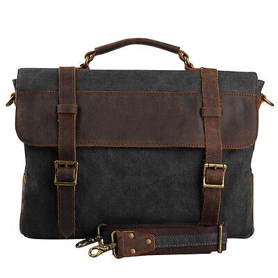 Vintage Cowhide Leather Men 14 In Laptop Briefcase Canvas Shoulder Messenger Bag