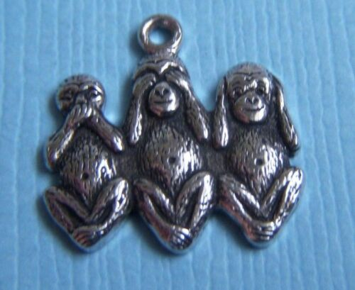 3 monkeys tack pin no see hear speak no Evil mystic wisdom lapel pin vintage P20