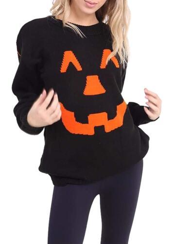 Ladies Mens Halloween Pumpkin Knitted Jumper Dress Spooky Fun Sweater Plus Size