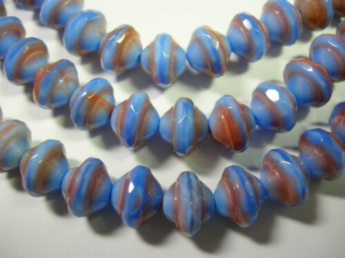 27 7mm Czech Glass Periwinkle and Peach Saturn Saucer Beads