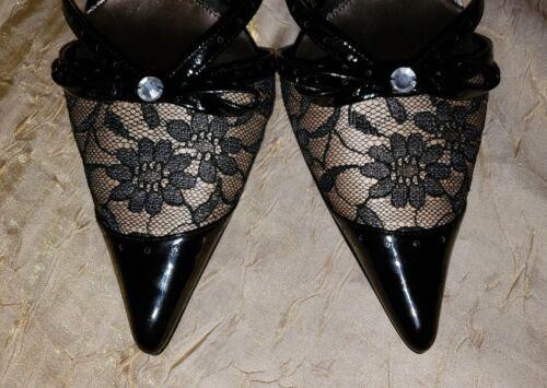 Cuir Noir 40 9 Escarpins À Bouts Avec Pointus 150 Verni Linea Dentelle 5 9 Florale Paolo Et OwqP6zxBzn