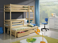 3 Sleeper 3ft Bunk Bed Triple Pine Wooden, Mattresses & Storage Adult Size