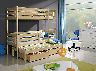 NEW BUNK BED TRIPLE WOODEN  Sleeper WITH MATTRESSES AND STORAGE DRAWERS 3ft pine