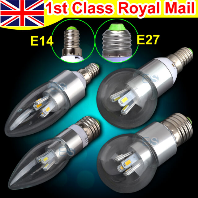 E14 E27 B22 Clear Candle Bulb Bayonet Golf LED Light Lamp Dimmable Non-dimmable