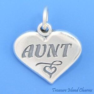 925 STERLING SILVER AUNT HEART CHARM//PENDANT