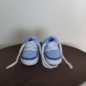 HANDMADE CROCHET BABY FIRST SHOES WOOL CASUAL BOOTS SLIPPERS TRAINERS UNISEX