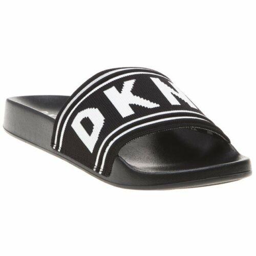 New Womens DKNY Black Zora Textile Sandals Pool Slides Slip On