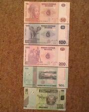 5 X Congo Banknote Set. 50, 100, 200, 500, 1000 Francs. Unc