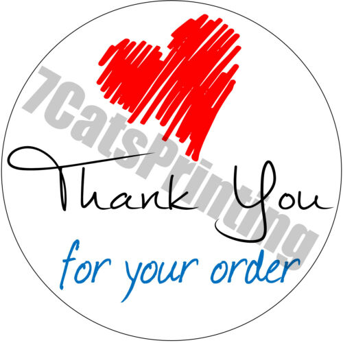 """63 Thank You For Your Order Stickers Red Heart Envelope Seals Labels 1/"""" Round"""