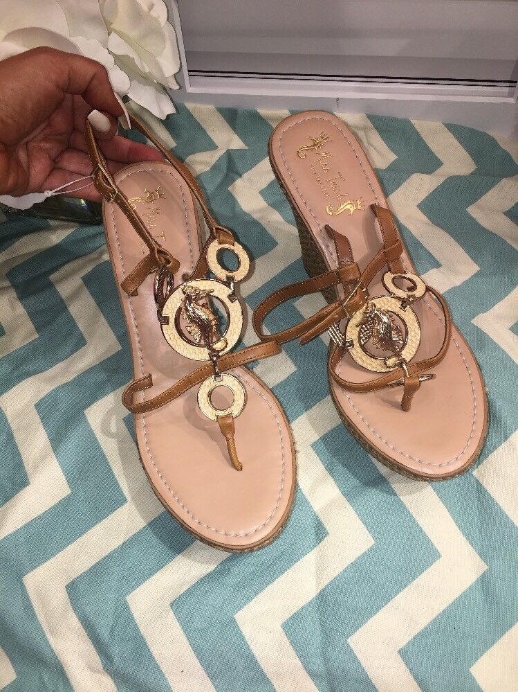 New RARE Miss Trish For Target golden Seahorse Stacked Wedge Sandals- Size 9