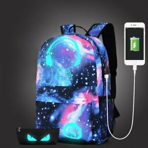 960fc283ffb0 Details about Galaxy School Bag Backpack Collection Canvas USB Charger for  Teen Girls Kids UK